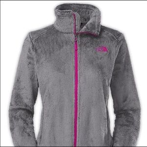 The North Face | Soft Gray Fleece Jacket With Pink